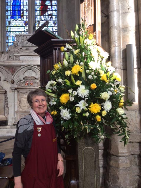Linda Smith, Breaston Flower Circle, with her pedestal for Lord Carrington's Memorial Service in Westminster Abbey