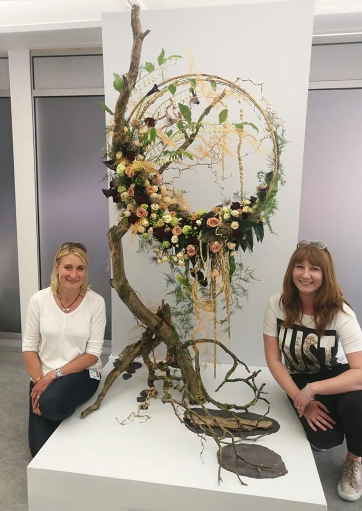Paula Routledge and Jade Loftus on their Silver-Gilt award at Chelsea Flower Show, Second Session, with their design Connections.